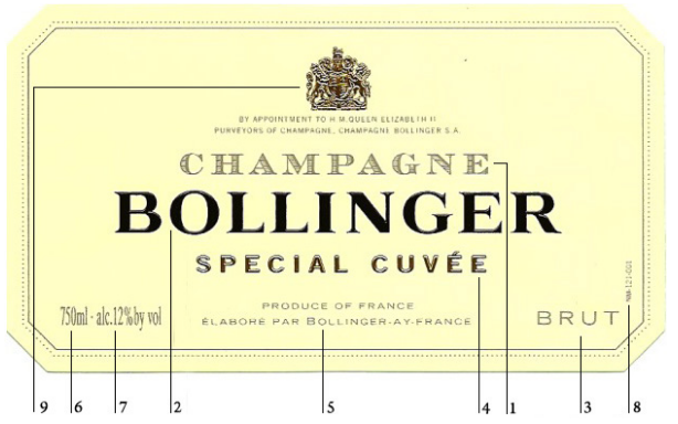 香槟酒标解读