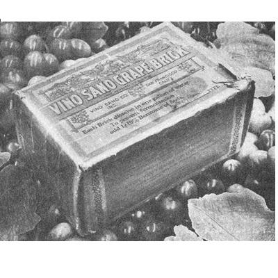 现今在加拿大安大略省历史与艺术博物馆展出的Vino Sano葡萄砖,被认为是最后现存的葡萄砖之一,其历史可追溯到1930年左右。 20世纪初,在禁酒令(Prohibition)时期禁止生产葡萄酒的时候,这些脱水葡萄汁就开始流行起来,把砖块溶解在特定比例的水中,可制成葡萄汁或通过发酵酿成葡萄酒。