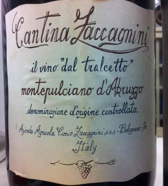 泽卡尼尼蒙特布恰诺阿布鲁佐红葡萄酒Cantina Zaccagnini il vino 'dal tralcetto' Montepulciano d'Abruzzo