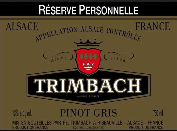 婷芭克世家私人珍藏灰皮诺干白Trimbach Reserve Personnelle Pinot Gris