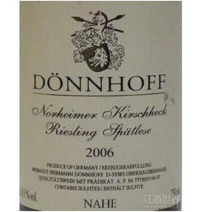 杜荷夫诺黑樱桃雷司令迟摘甜白Weingut Donnhoff Norheimer Kirschheck Riesling Spatlese