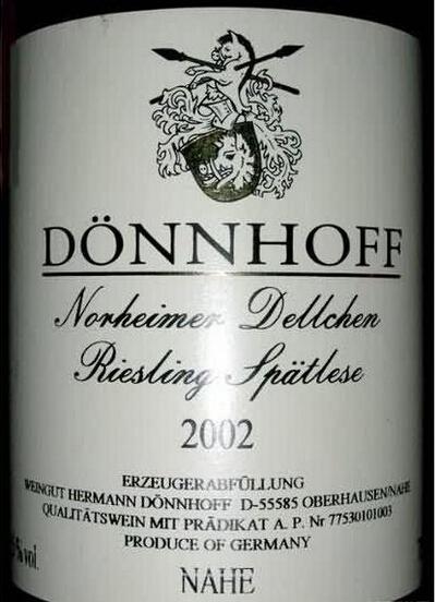 杜荷夫诺黑黛儿雷司令迟摘甜白Weingut Donnhoff Norheimer Dellchen Riesling Spatlese