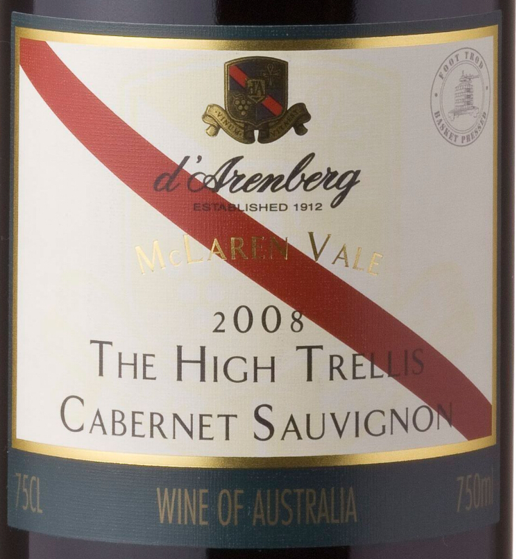 黛伦堡巨藤赤霞珠干红d'Arenberg The High Trellis Cabernet Sauvignon