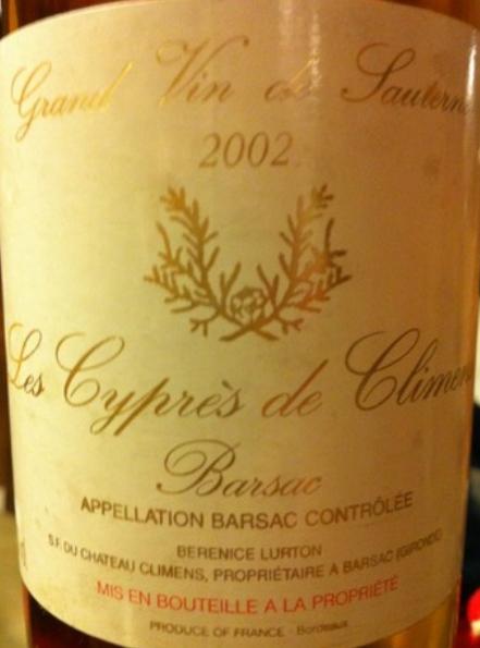 克里蒙酒庄副牌贵腐甜白Les Cypres de Climens