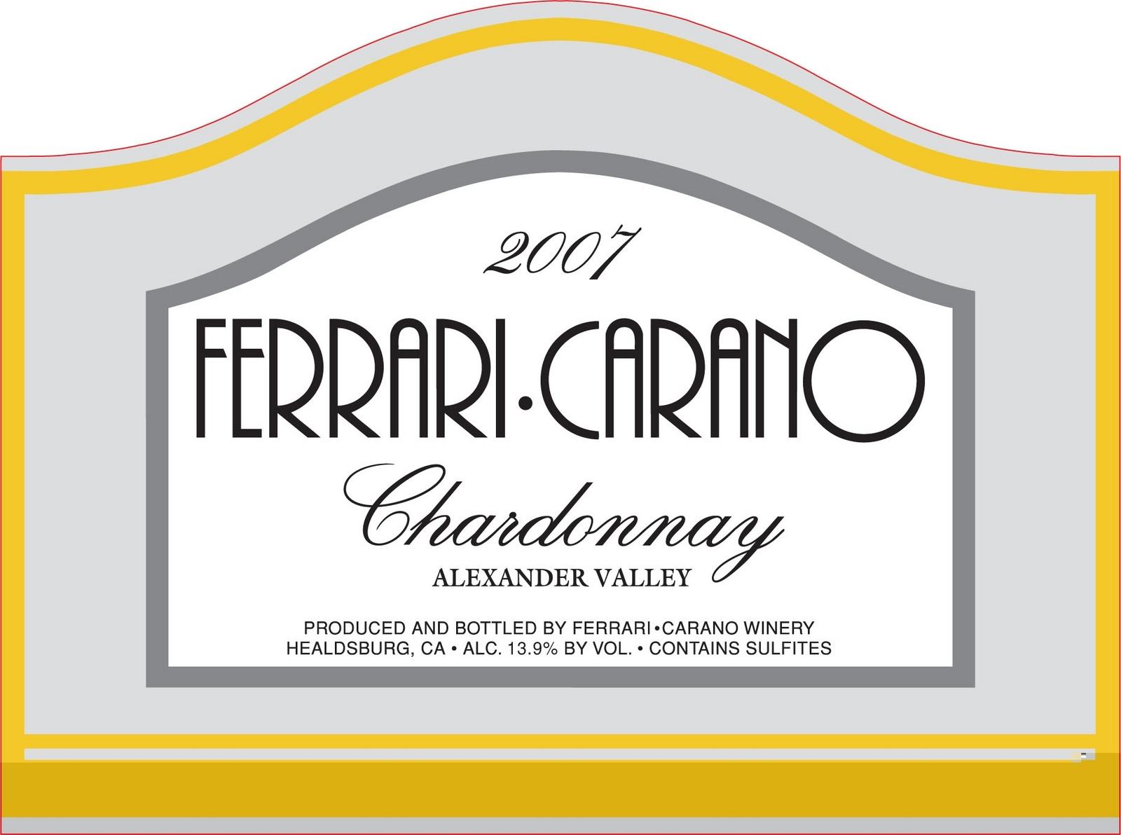 法拉利卡诺酒庄霞多丽干白Ferrari Carano Chardonnay Alexander Valley