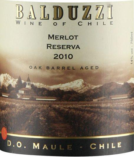 豪华碧桃丝梅洛特级干红Balduzzi Merlot Reserva