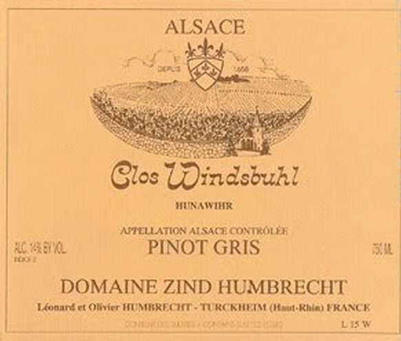 辛特-鸿布列什酒庄温德斯布尔庄园灰皮诺干白Domaine Zind-Humbrecht pinot gris clos windsbuhl