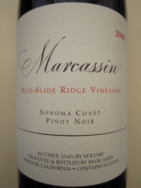 玛尔卡森蓝色滑脊黑皮诺干红Marcassin Blue Slide Ridge Pinot Noir