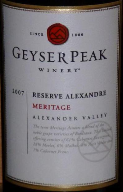 盖世峰亚历山大珍藏梅里蒂奇干红Geyser Peak Reserve Alexandre Meritage