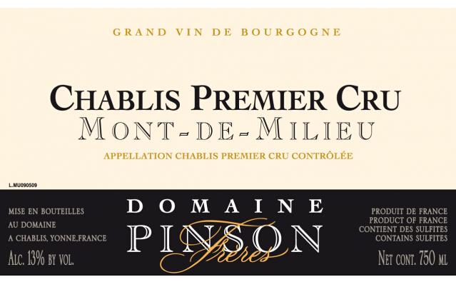芬德庄园夏布利美利山干白Domaine Pinson Chablis Mont de Millieu 1er Cru