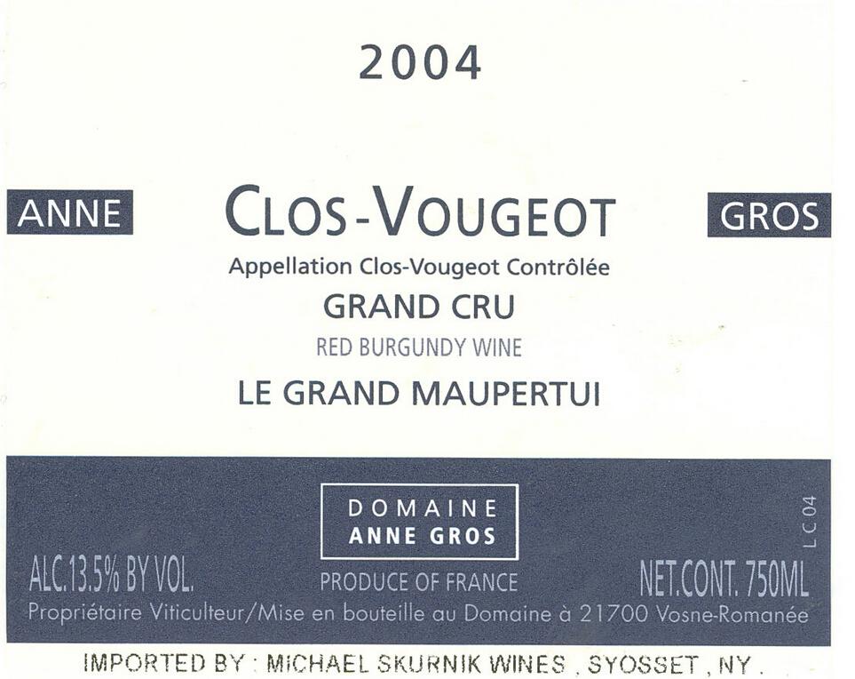 安格奥斯莫佩尔蒂园干红Domaine Anne Gros Le Grand Maupertui