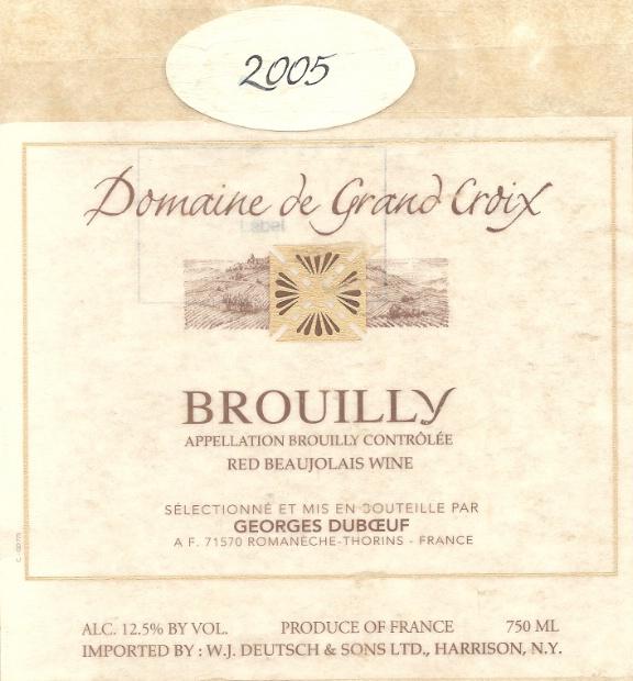 乔治杜柏夫大十字园布鲁依干红Georges Duboeuf Domaine de Grand Croix Brouilly