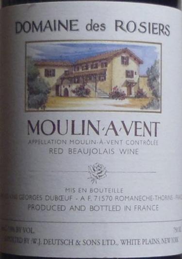 乔治杜柏夫加格琳佳美干红Georges Duboeuf Carquelins Gamay Moulin a Vent