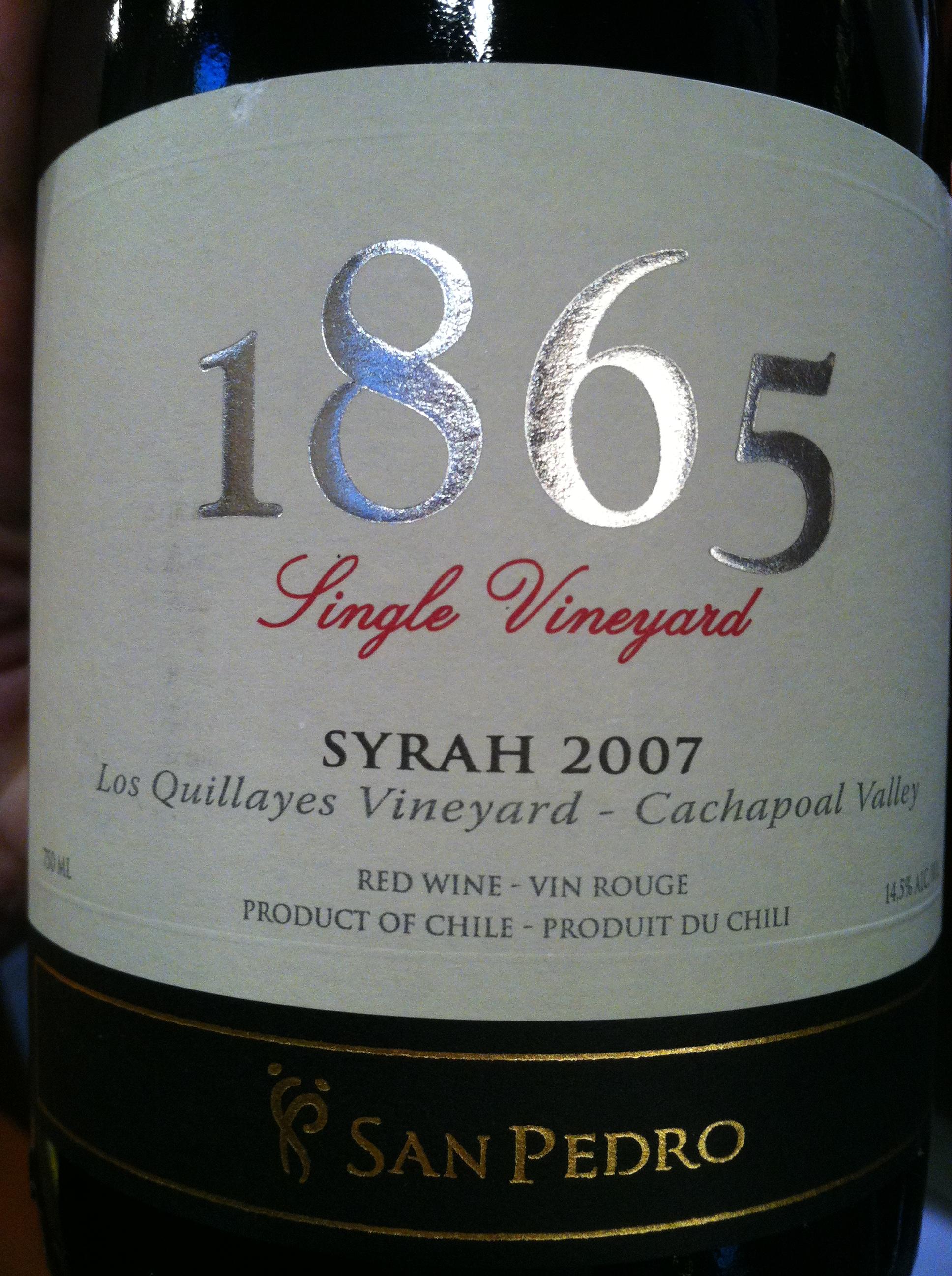 圣派德罗1865西拉干红Vina San Pedro 1865 Single Vineyard Syrah