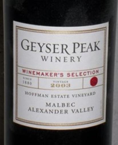 盖世峰大师精选霍夫曼园马尔贝克干红Geyser Peak Winemaker's Selection Hoffman Estate Vineyard Malbec