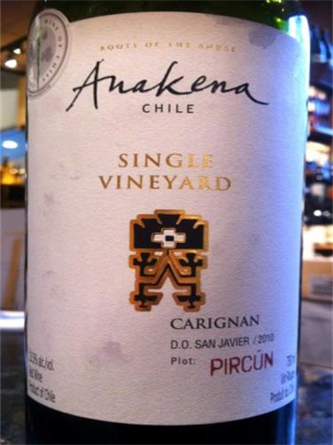 安娜肯纳单一葡萄园佳丽酿干红Anakena Single Vineyard Carignan