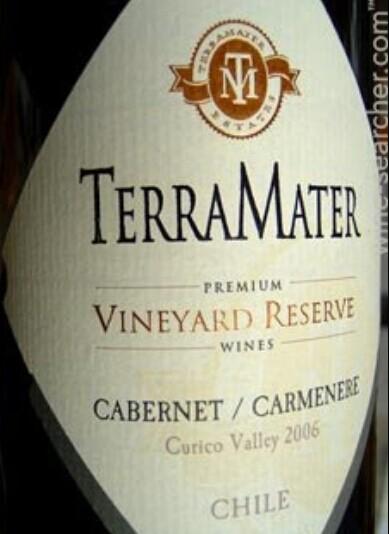 特雷玛特葡萄园珍藏系列赤霞珠-佳美娜混酿干红TerraMater Vineyard Reserve Cabernet Sauvignon - Carmenere