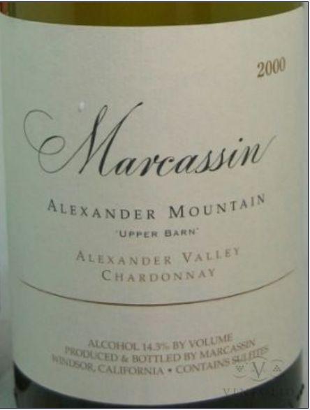 玛尔卡森上谷仓亚历山大大山园霞多丽干白Marcassin Upper Barn Alexander Mountain Estate Chardonnay
