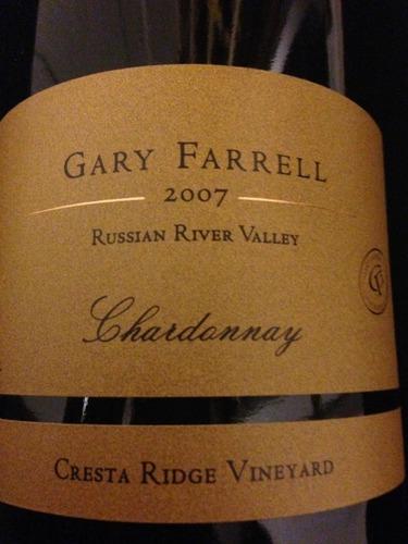 法雷尔登峰脊庄园霞多丽干白Gary Farrell Cresta Ridge Vineyard Chardonnay
