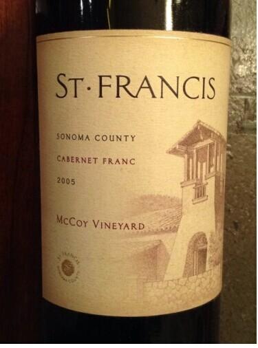 圣弗朗西丝麦考伊园品丽珠干红St. Francis McCoy Vineyard Cabernet Franc