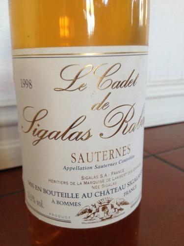 斯格拉哈宝酒庄副牌贵腐甜白Le Cadet de Sigalas Rabaud