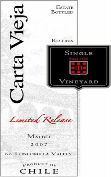 卡塔维嘉单一园限量发售马尔贝克干红Carta Vieja Single Vineyard Limited Release Malbec