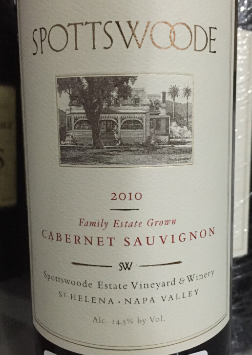 斯勃兹伍德家族酒庄庄园特选赤霞珠干红Spottswoode Estate Vineyard & Winery Family Estate Grown Cabernet Sauvignon