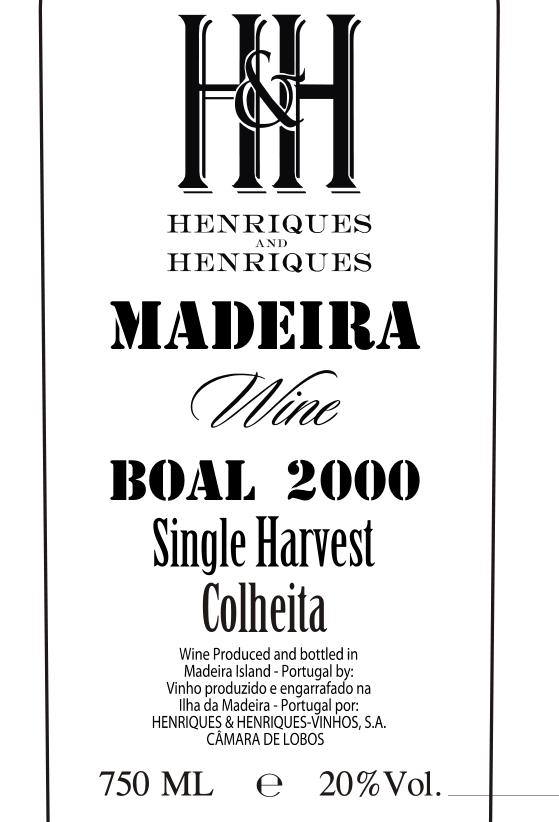 亨瑞克马德拉年份博尔利口葡萄酒Mad.Wine.S.Harvest Boal 2000 geral