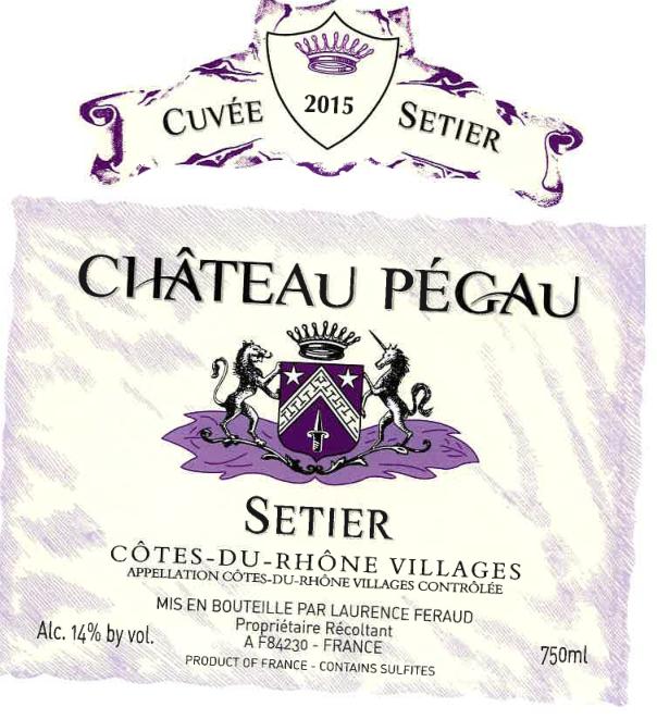 佩高隆河丘村产区干红Chateau Pegau Cotes du Rhone Villages Cuvee Setier