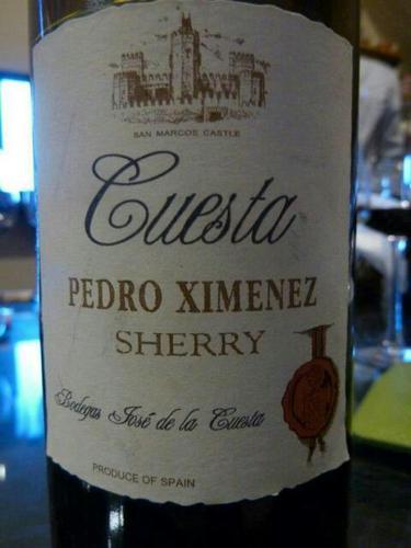 Bodegas Jose de la Cuesta Pedro Ximenez Sherry
