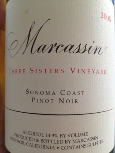 玛尔卡森三姐妹园黑皮诺干红Marcassin Three Sisters Vineyard Pinot Noir